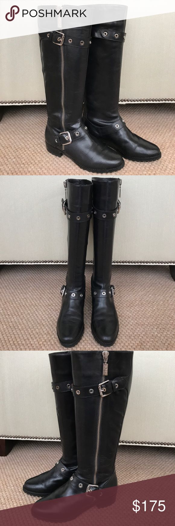 "Michael Kors ""Fallon"" Shiny Calf Michael Kors ""Fallon"" Shiny Calf Moto Boot  Excellent pre-owned condition w/ minor creasing as shown in photos.   Classic tall boot w/ a little moto edge.  Beautiful quality leather Made in Brazil Crescent toe Buckled strap detail at top & at shaft of ankle Silver HW 1.25"" heel w/ lug sole Zip shaft- 17"" sole to top boot shaft  Will try to ship w/ orig shoe box if I can find a large enough box to pack them in. Otherwise will ship w/out shoebox. Either way…"
