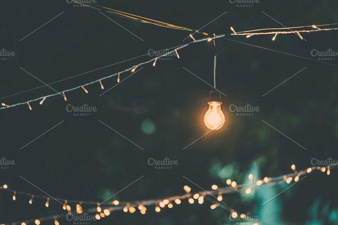 Retro light decor by Pushish Images on @creativemarket  stock photography | stock image | lightbulb photo | royalty free images |  cheap stock photo | night scene | fairly lights | stock photo |