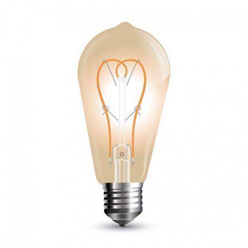 LED lámpa , égő , izzószálas hatás , E27 foglalat  , 5 Watt , meleg fehér , arany , üveg , vintage