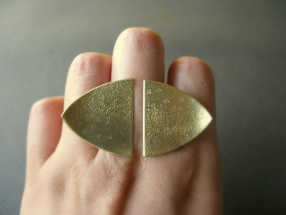 Double Heater Shield  handstamped ombre brass ring by DorothyCheng, $78.00
