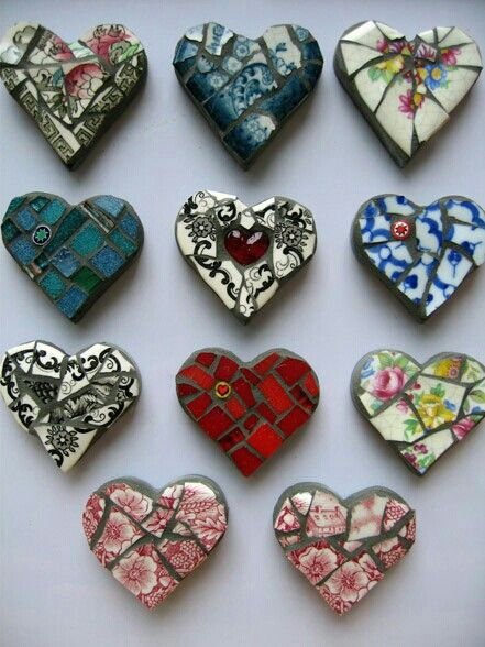 . Gift for valentine's day followers , craft inspiration why not make lovely mosaic hearts by cutting out the shape from air dry or oven bake clay and pushing pieces of old vintage China in them from repurposed chipped ceramics, then use them as gifts, magnets , charms or in art get tons of art and craft ideas by following stuff I want to make and all of my other boards