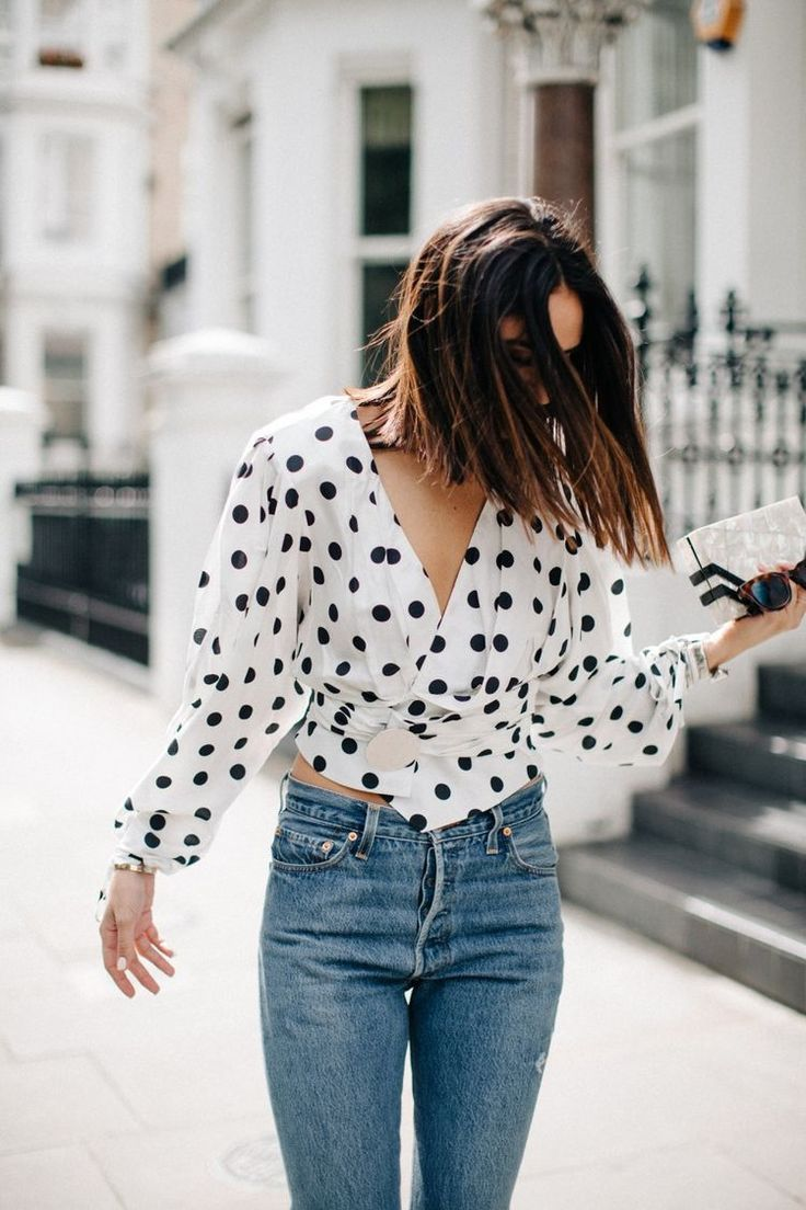 Cute outfit | Polka dot | Denim | White | Streetstyle | More on Fashionchick.nl