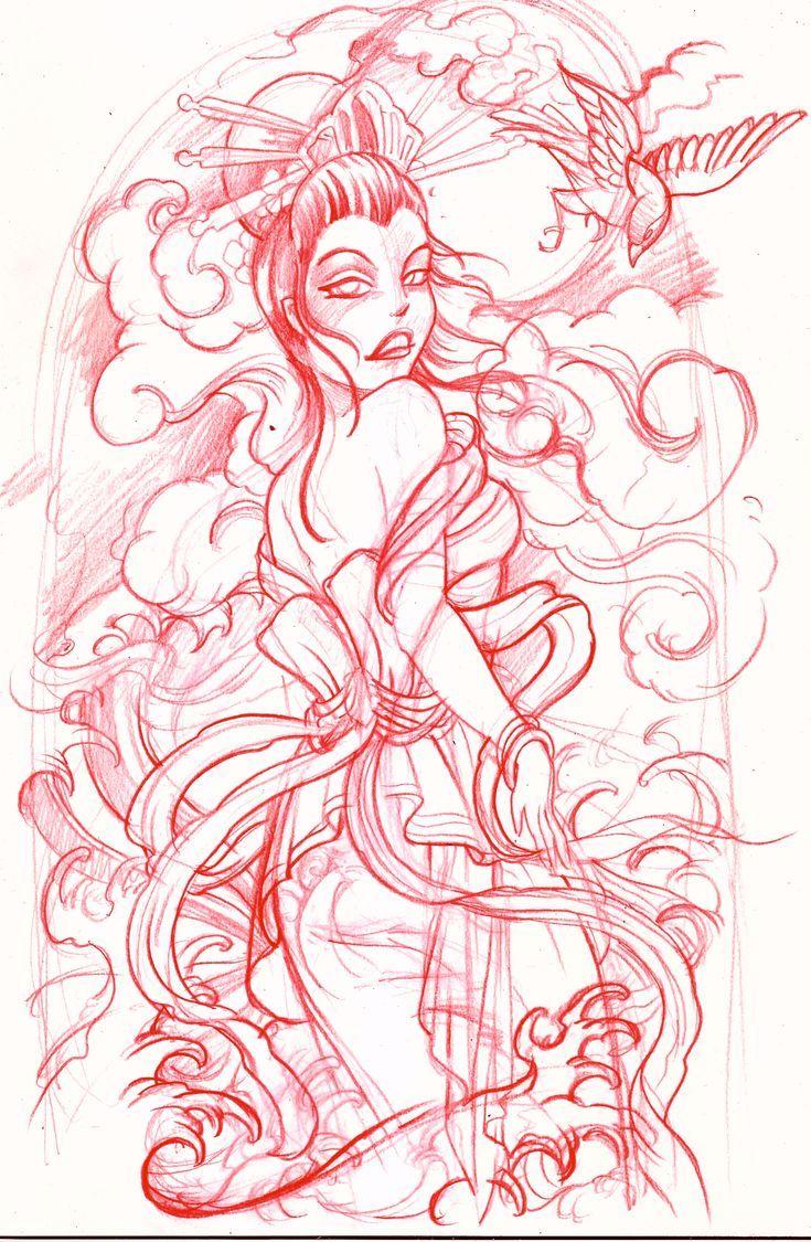 Geisha tattoo elegant geisha tattoo picture - Geisha Tattoo Sketch 2 Jpg 735 1125