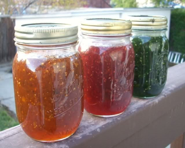 Green Tomato Jelly, very similar to fig version.  I had oodles of tomatoes that …