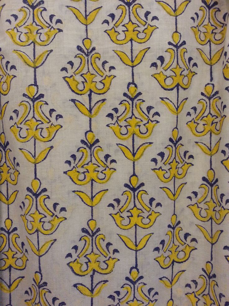 Blue and Yellow Print Curtains