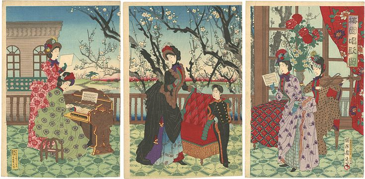 Picture of Songs and Plum Blossom by Chikanobu / 梅園唱歌図 周延