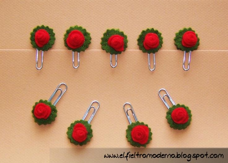 Clips con rosas de Sant Jordi: idea original y barata para regalar a tus colegas de oficina by l Fieltro Moderno: abril 2011