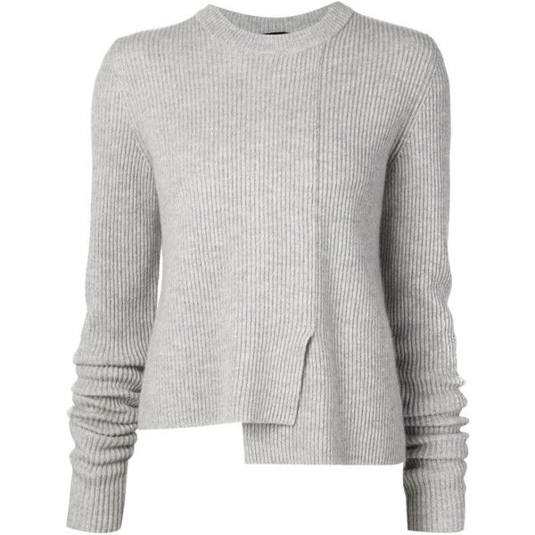 Proenza Schouler asymmetric sweater found on Polyvore featuring tops, sweaters, grey, asymmetrical hem top, grey ribbed sweater, grey crewneck sweater, crew neck sweaters and asymmetrical top