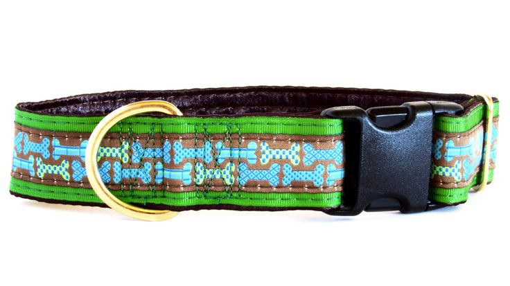Bones Brown Satin Lined Dog Collar on sale now!