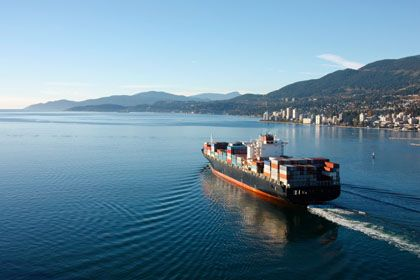 ship cruising in into the horizon gracefully