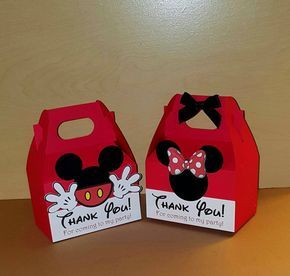 12 Minnie and Mickey Mouse Favor Boxes - Gable Boxes - Candy Bags