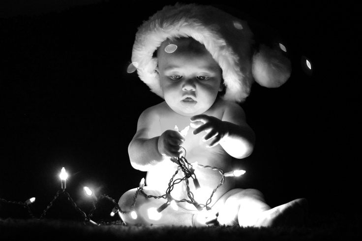 Cute Baby Christmas Photo With Christmas Lights Fun Baby  - Baby With Christmas Lights