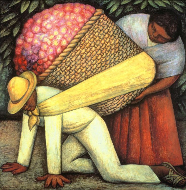 The Flower Carrier - Diego Rivera (1935)  http://biography.yourdictionary.com/diego-rivera  Diego Rivera was and still is one of Mexico most famous and respected artist. He is most famous for his painting The Flower Barrier and was once married to Frida Kahlo. In my interpretation, the painting resembles the hard work Mexican have to go through. The peoples faces looks so sad as if they had done this before.