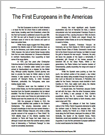 The First European Explorers in the Americas - Free Printable American History Reading with Questions, Grades 7-12