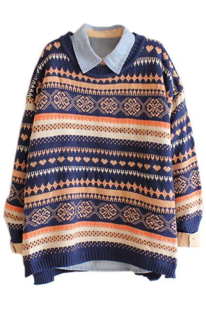 ROMWE Snowflake & Heart Knitted Long Sleeves Navy Jumper http://www.romwe.com/romwe-snowflake-heart-knitted-long-sleeves-navy-jumper-p-79250.html?Pinterest=fyerflys