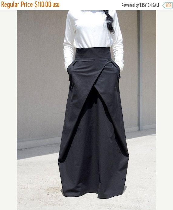 ♥ Made To Order Women's High Waist Black Long Skirt ♥ Elegant and chic long women's extravagant long high waist 100% cotton skirt. Style with 2 side pockets. Perfect for day time or the evening. Comfortable loose fit - looks great on everyone. Different sizes available XS,S,M,L,XL,XXL,3XL...PLUS SIZES AVAILABLE! #Handmade #Fashion #Pants #ETSY