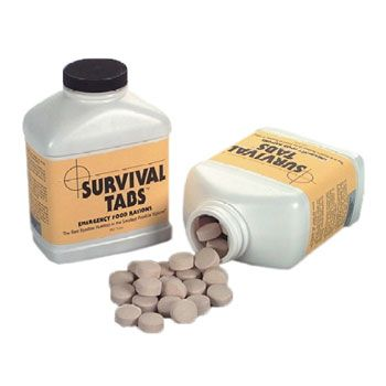 Survival tabs are ultra high calorie food tablets that provide all essential vitamins and minerals. Fits easily into 72 hour kits and bug out bags, adding just under a pound. 10 Year shelf life, and the chocolate ones are tasty!