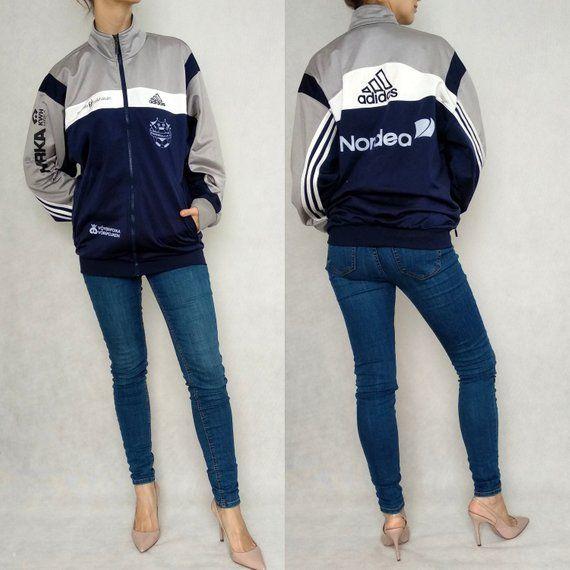 Vintage Adidas Pullover, Navy Blue Adidas Hoodie, Large