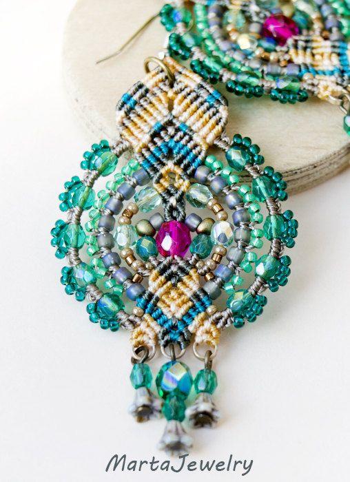 Macrame earrings beaded earrings beadwoven by MartaJewelry on Etsy