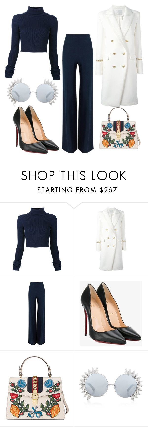 """""""Untitled #1470"""" by dani-gracik on Polyvore featuring Jacquemus, Pierre Balmain, Roland Mouret, Christian Louboutin, Gucci and Linda Farrow"""