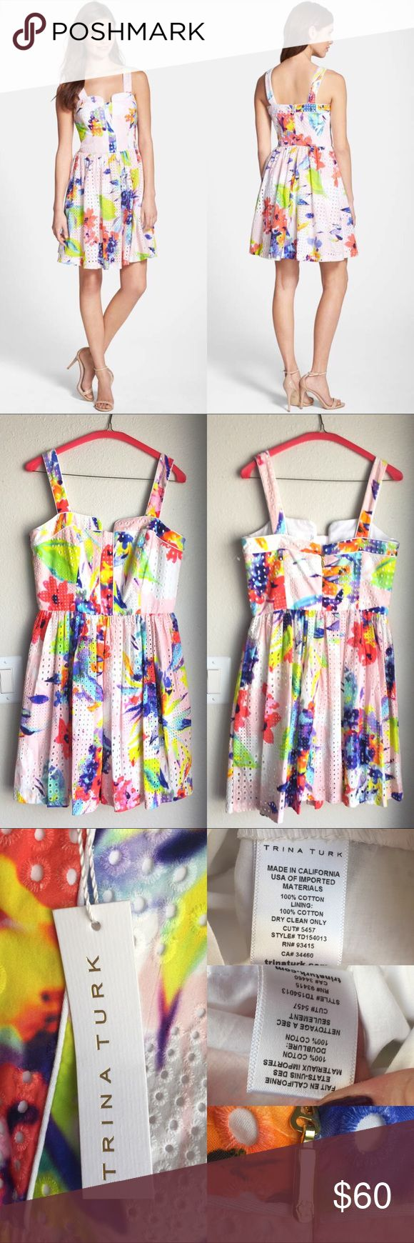 """🆕NWT Trina Turk Elin Eyelet Rainbow Dress Authentic Trina Turk """"Elin"""" dress, new with tag. This faintly flirtatious dress, exuberantly painted in neon, is a refreshing take on classic cotton eyelet. A piped, engineered bodice complements the modernized flower print. Size 6, approx 36"""" length, 17"""" across bust, 14"""" across waist. Back zip closure. Side pockets. Fully lined. Blogger fave! As seen on Sequins & Things and Fancy Ashley, cover photos credit Nordstrom. ❌No trades❌Price firm unless…"""