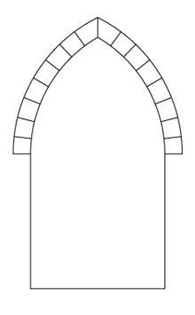 Arco apuntado. También llamado arco ojival, es una tipología extensa de arcos que están compuestos por dos tramos de arco que forman un ángulo central en la clave. Transmiten mejor el empuje lateral que uno de medio punto, y aumentan la sensación de verticalidad.