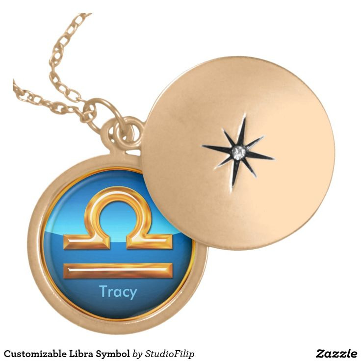 Customizable Libra Symbol Round Locket Necklace   30% OFF Spooktacular Essentials: coasters, favor boxes, wine charms, serving trays, posters, tablecloths, table runners, plates, platters, packs of cake pops, packs of cookies, chocolate boxes, frosting rounds, invitations, greeting cards, photo cards, postcards, and/or cheese boards - USE Code ZSPOOKYSCARY   15% Off All Other Zazzle Products.   Valid through October 8, 2015 at 12:59:59 PM PT