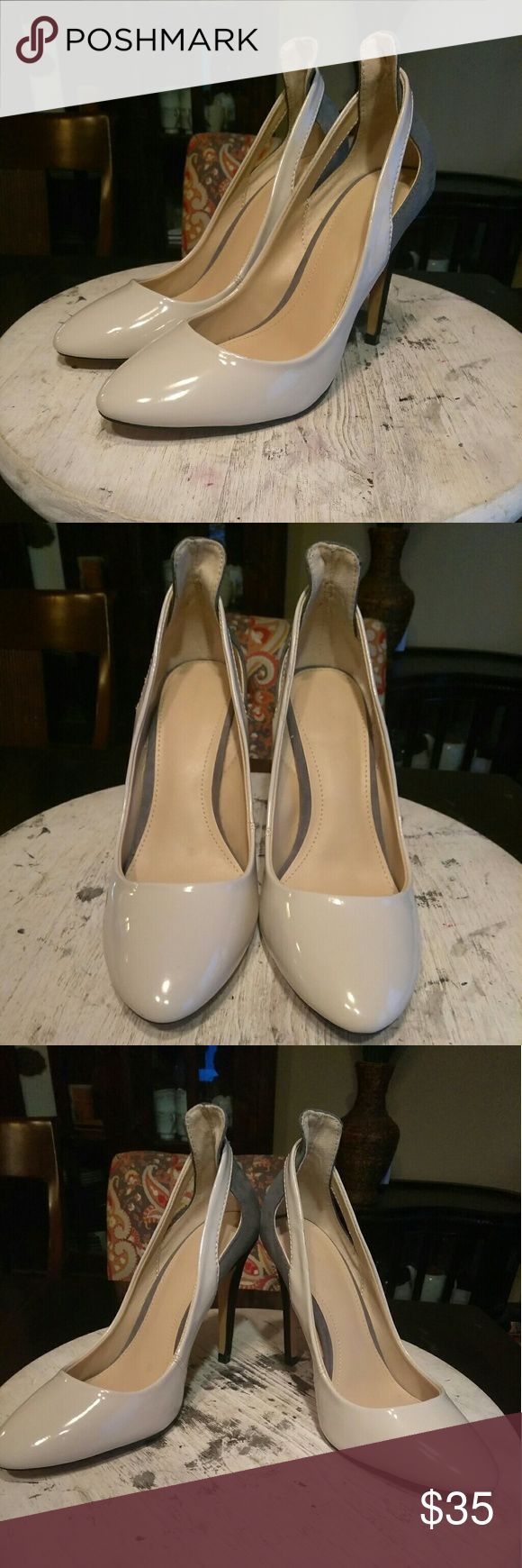 JUST IN!!! ZARA-Patent Pump WERRKKKKK!!! Perfect pump for the office followed by a night out with the girls!!! Cream patent upper, w/grey back & 4in black heel!!! Dress them up or down and always look FAB!!! Minimal wear (shown above not noticeable when wearing) great condition inside and out!!! Let's make some offers Ladies!!! Zara Shoes Heels
