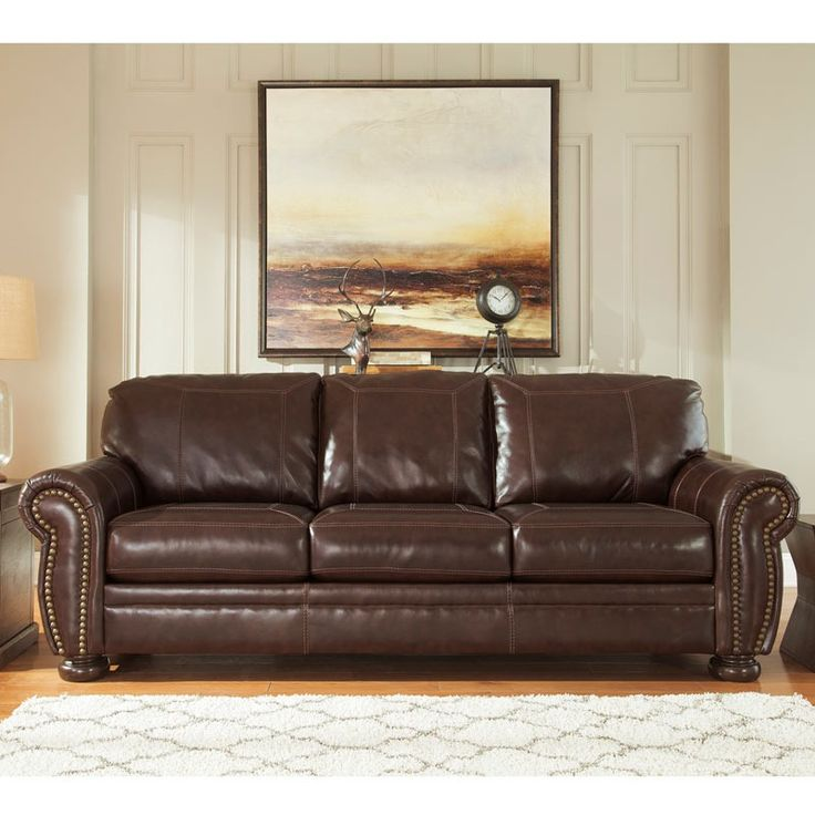 good quality living room furniture%0A Don u    t settle for lowquality looks or pay high prices for top grain  leather u    get the rustic industrial look for less  This gorgeous sofa has  nailhead trim