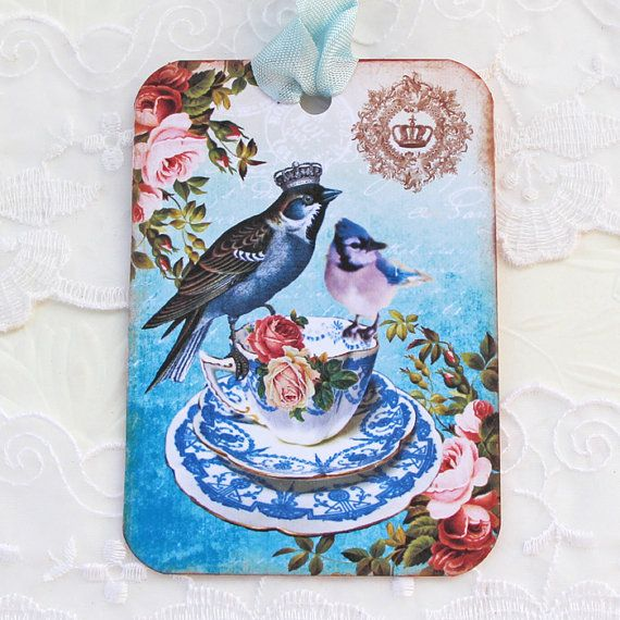 Bird Tags Gift Hang Vintage Teacup Tea Party by EnchantedQuilling