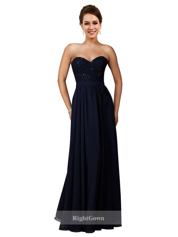 Cheap Right Gowns Dreamy 2018 Styles Long Chiffon Sweetheart Dark Navy Strapless Bridesmaid Dresses 172009, Right Bridesmaid Dresses, Cheap Bridesmaid Dresses and Buy Discount Bridesmaid Dresses2018