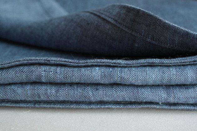 Obrus lniany niebieski DENIM - LilaLen - Obrusy