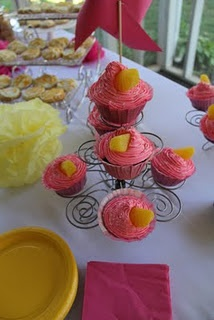 love the pink and yellow birthday party theme!