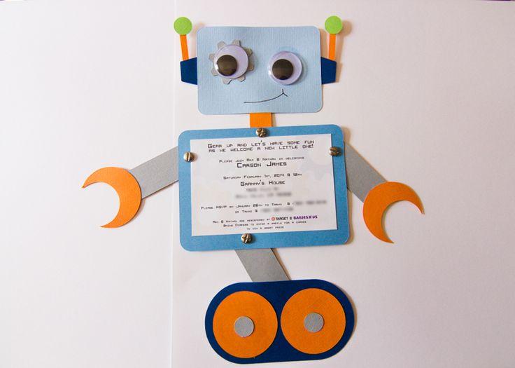 Robot invitation, baby shower, birthday, svg, cricut cutout, silhouette cutout, droids, handmade