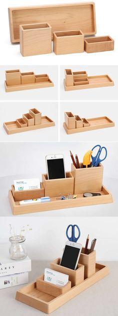 4 Compartments Wooden Office Desk Organizer Collection Smart Phone Dock Holder Pen Pencils Holder Business Card Stand Holder Desk Supplies Stationary Organizer Set