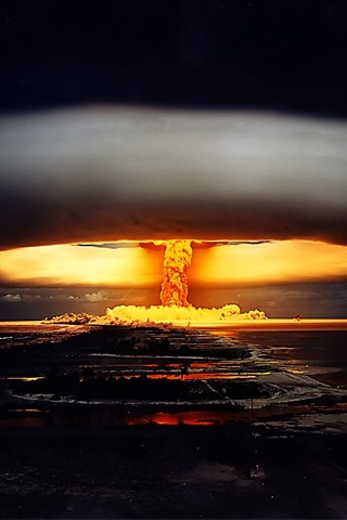 Hydrogen bomb detonation: I'm ready; you ready? All I need is my fireside favorite. She's around here somewhere? Dustspeck