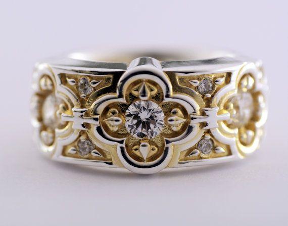 Renaissance Wedding Ring, Band with White Topaz, 18Karat Gold Vermeil Sterling Silver Ring, Wedding Band,