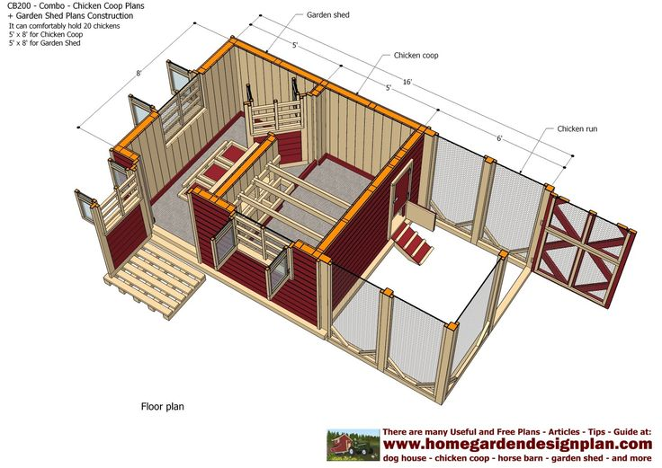 Home garden plans cb200 combo plans chicken coop for Large storage shed plans
