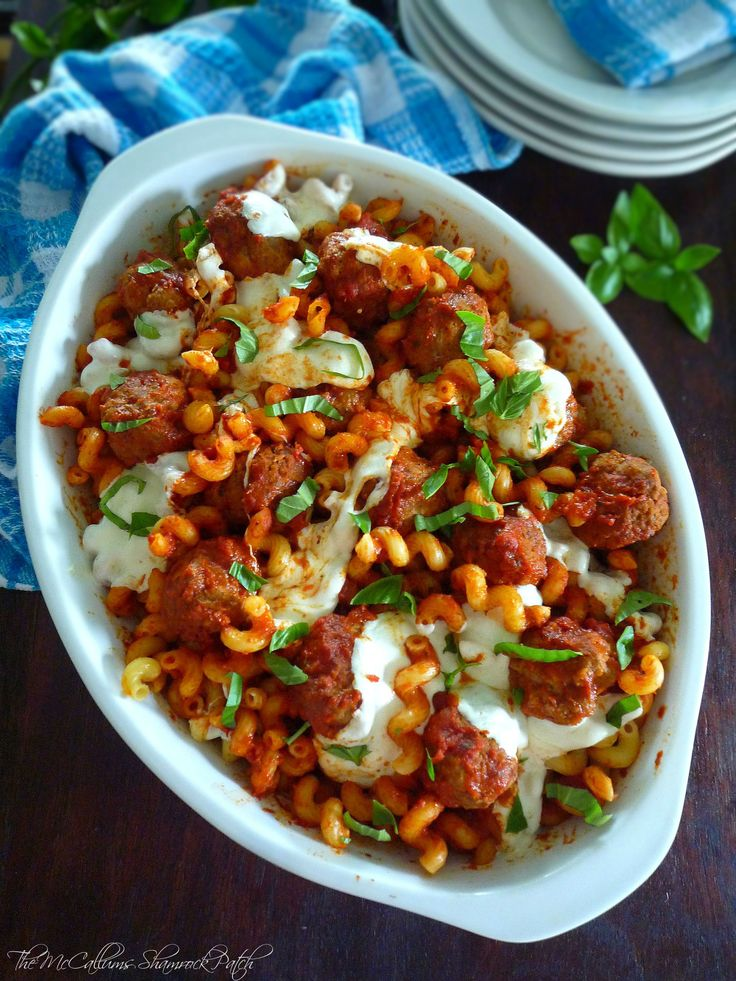 Baked Cellentani and Meatballs