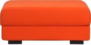 max orange felt ottoman modern ottomans and cubes