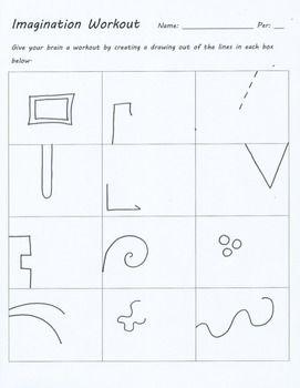 IMAGINATION WORKOUT CREATIVITY TEST DRAWING SUB ART LESSON PLAN DOODLE WORKSHEET - TeachersPayTeachers.com