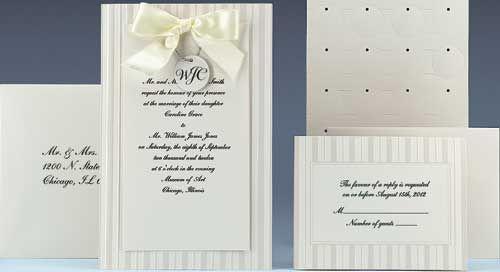 Ivory Wedding Invitation Kits: Ivory Stripes Wedding Invitation Kit $29.95