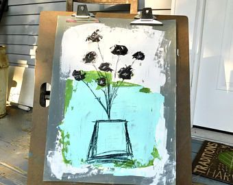 Mixed Media ARt, Abstract Art, Floral Art, Whimsical Art, Wall Art, Acrylic Painting, Interior Design, Home Decor, Gift, Farmhouse