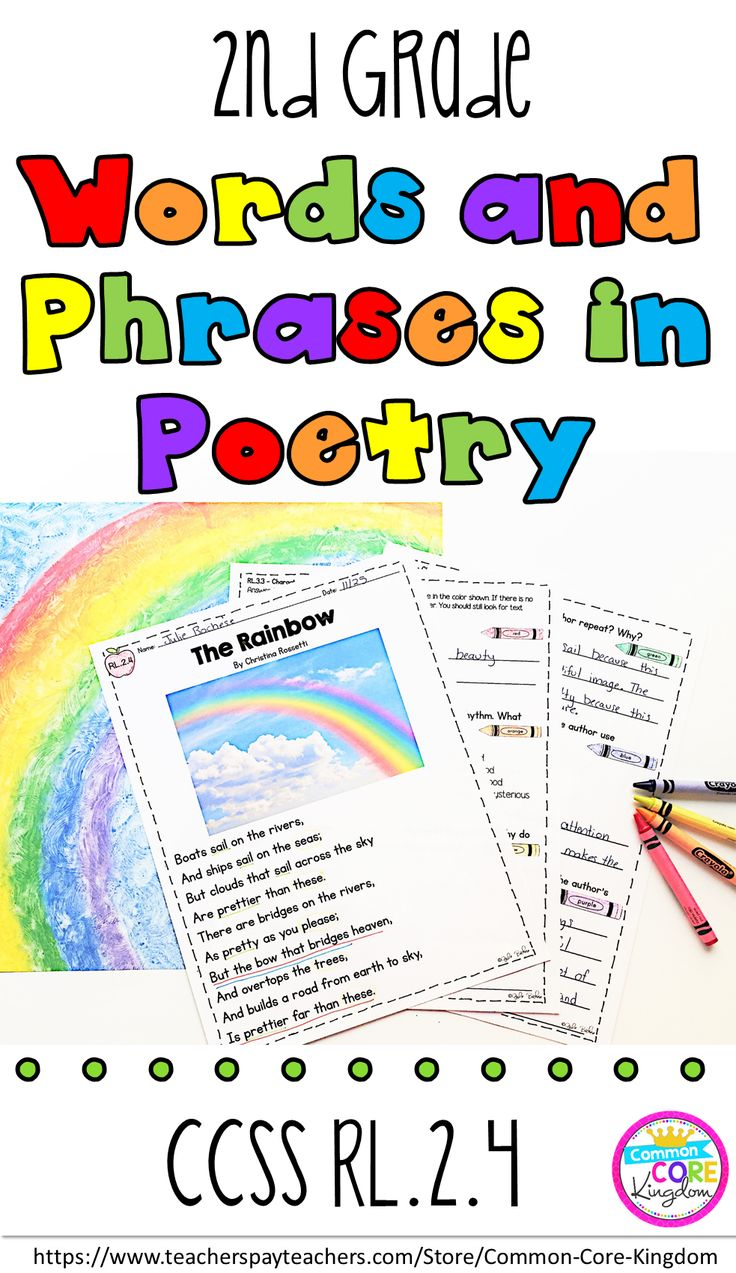 Are you looking for a way to teach your second graders how words and phrases (regular beats, alliteration, rhymes,, and repeated lines) supply rhythm and meaning in a poem? This packet of poems and questions will help your 2nd graders master Common Core Standard RL.2.4.
