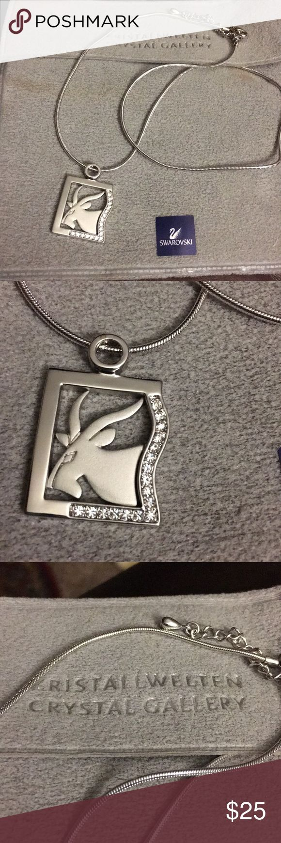 "Capricorn Swarovski crystal necklace Silver goat design with Swarovski crystals, necklace can be worn at 15"" to 18"" with extender links. NWT, never worn, purchased in Germany Swarovski Jewelry Necklaces"