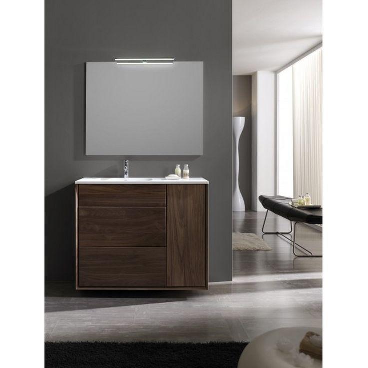 Meuble de salle de bain à suspendre en Noyer  #meubledesalledebain