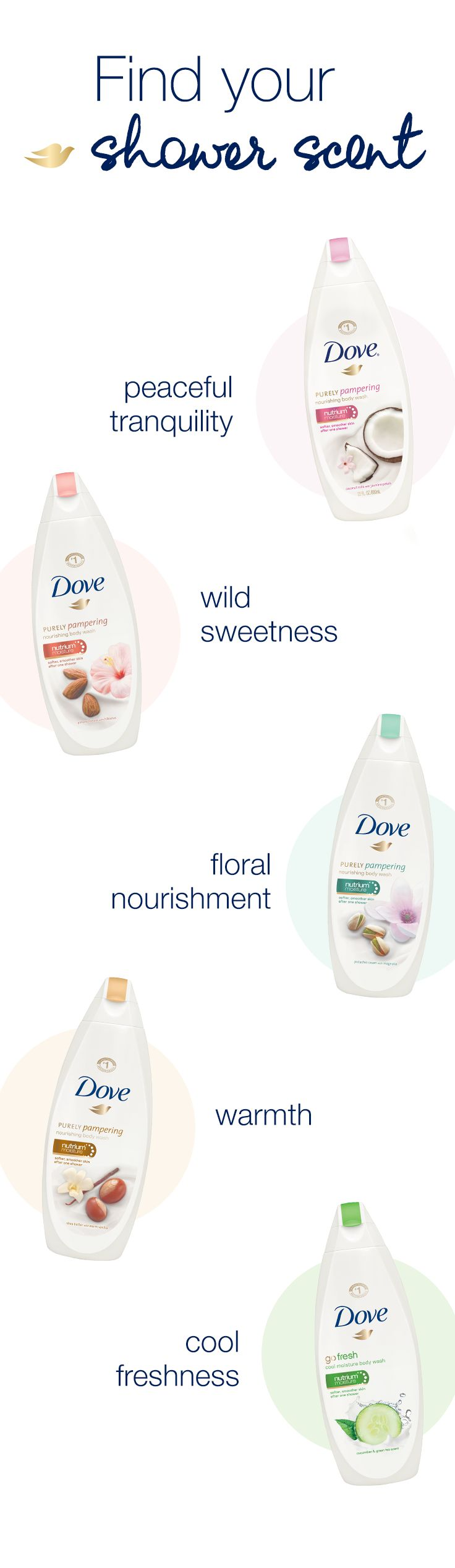 It matters where you start your beauty routine and how you start your day. Create your ideal morning by choosing the perfect Dove Body Wash scent to match your mood.