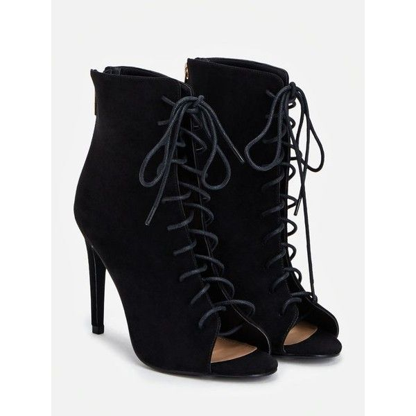 Justfab Booties Ruthi (£30) ❤ liked on Polyvore featuring shoes, boots, ankle booties, black, faux suede lace-up booties, peep toe booties, black peep toe booties, high heel booties and lace up high heel booties