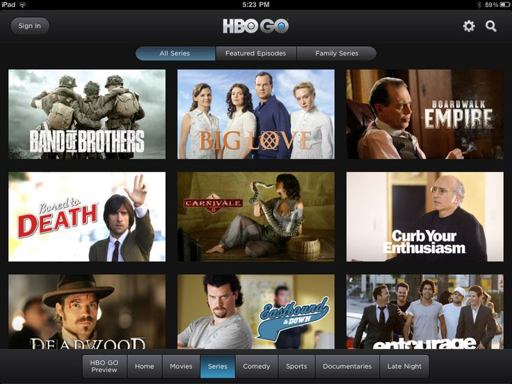HBO Go iPad Screenshot: Get unlimited access to all your favorite HBO® shows, hit movies, sports, comedy and more, plus bonus features and behind-the-scenes extras. It's all free with your HBO subscription through participating television providers and available on your favorite devices.