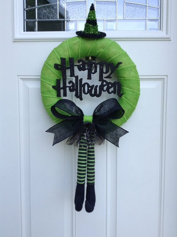 Happy Halloween Wreath - Witch Wreath  made with a green burlap wrapped wreath